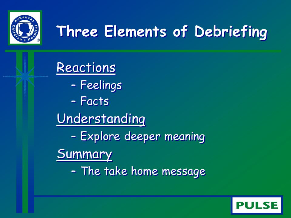 Three Elements of Debriefing