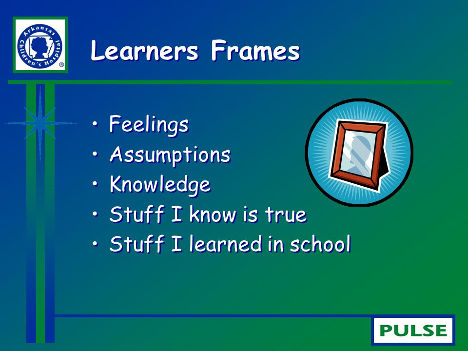 Learners Frames Feelings Assumptions Knowledge Stuff I know is true