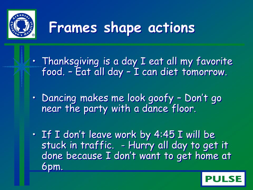 Frames shape actions Thanksgiving is a day I eat all my favorite food. – Eat all day – I can diet tomorrow.