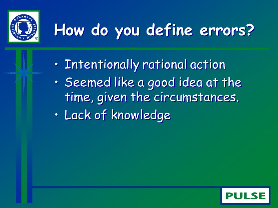 How do you define errors