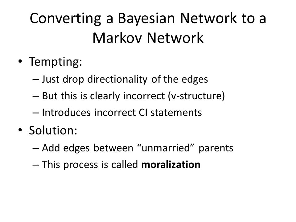 Converting a Bayesian Network to a Markov Network