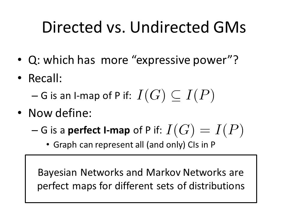 Directed vs. Undirected GMs