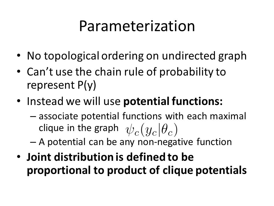 Parameterization No topological ordering on undirected graph