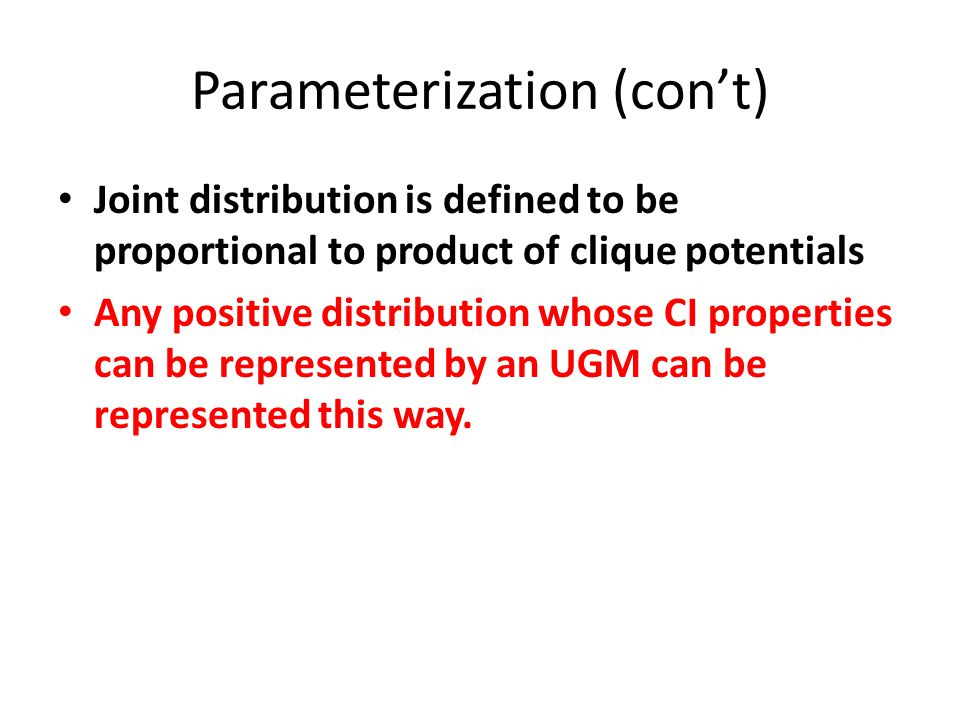 Parameterization (con't)