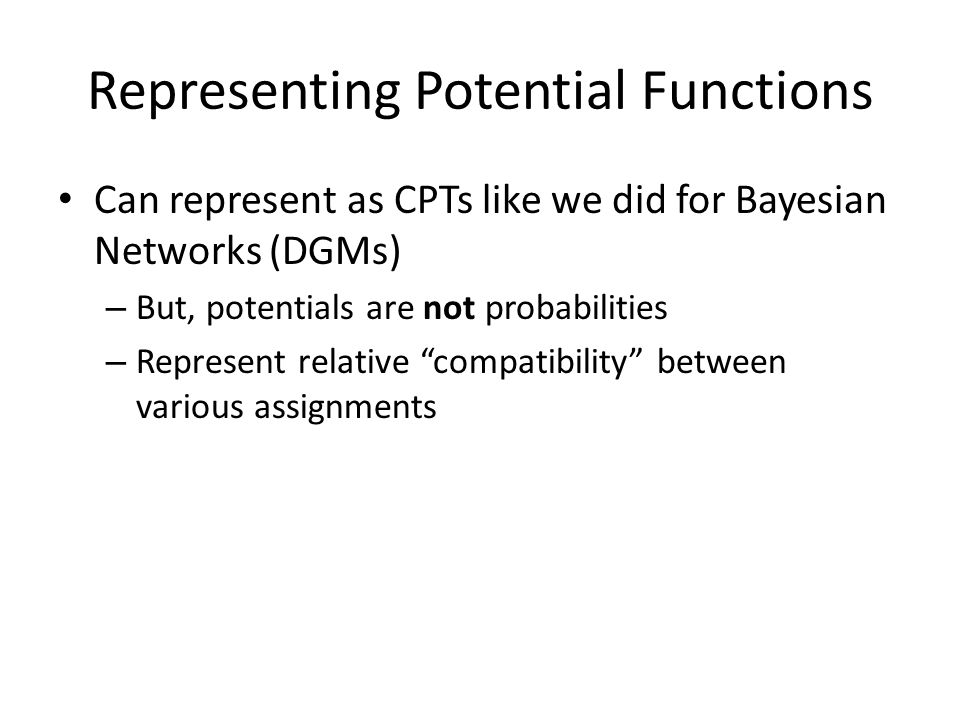 Representing Potential Functions