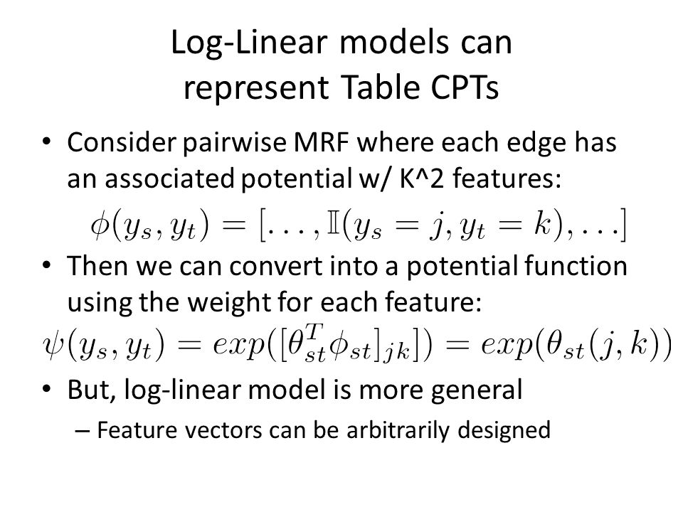 Log-Linear models can represent Table CPTs