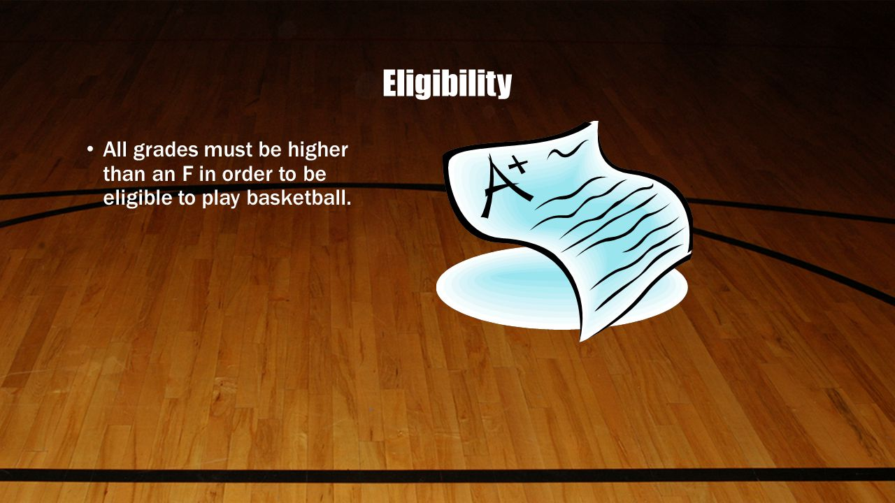 Eligibility All grades must be higher than an F in order to be eligible to play basketball.