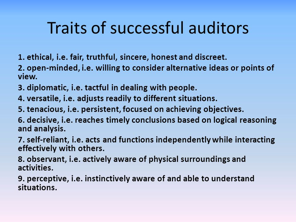 Traits of successful auditors