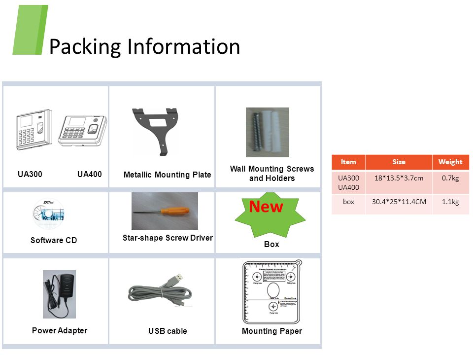 Packing Information New Item Size Weight UA300 UA400 18*13.5*3.7cm