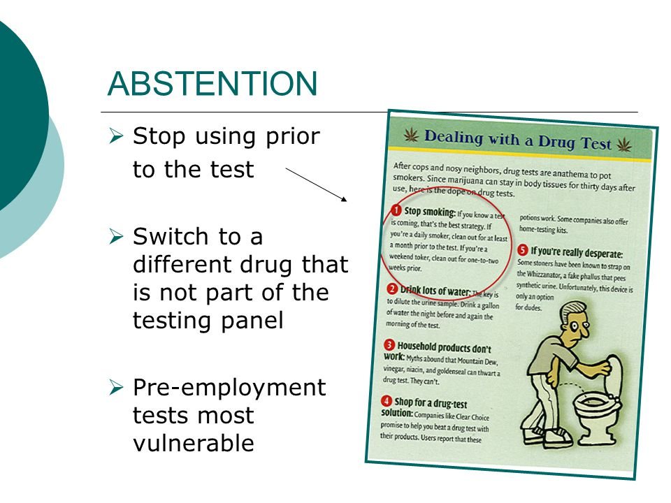ABSTENTION Stop using prior to the test