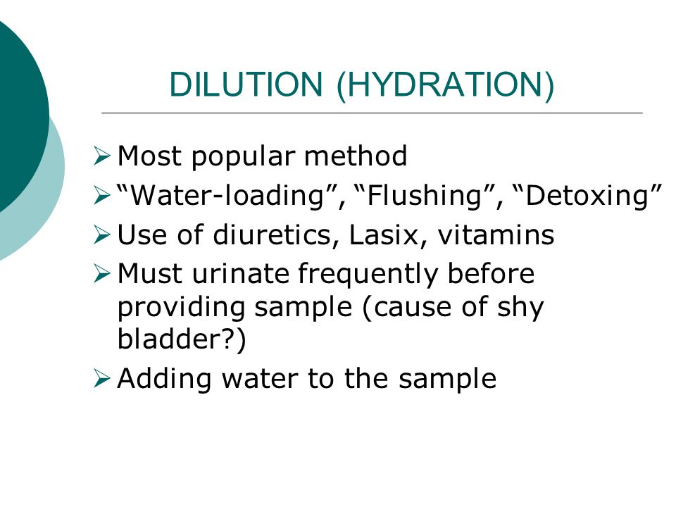 DILUTION (HYDRATION) Most popular method