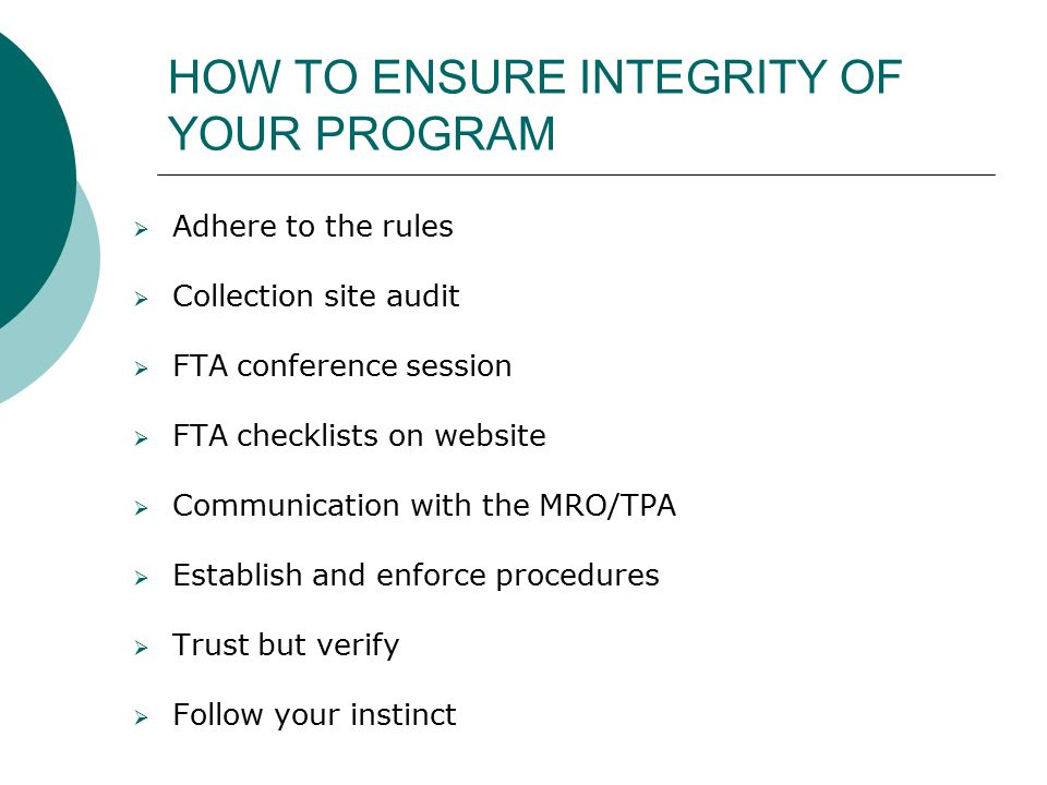 HOW TO ENSURE INTEGRITY OF YOUR PROGRAM
