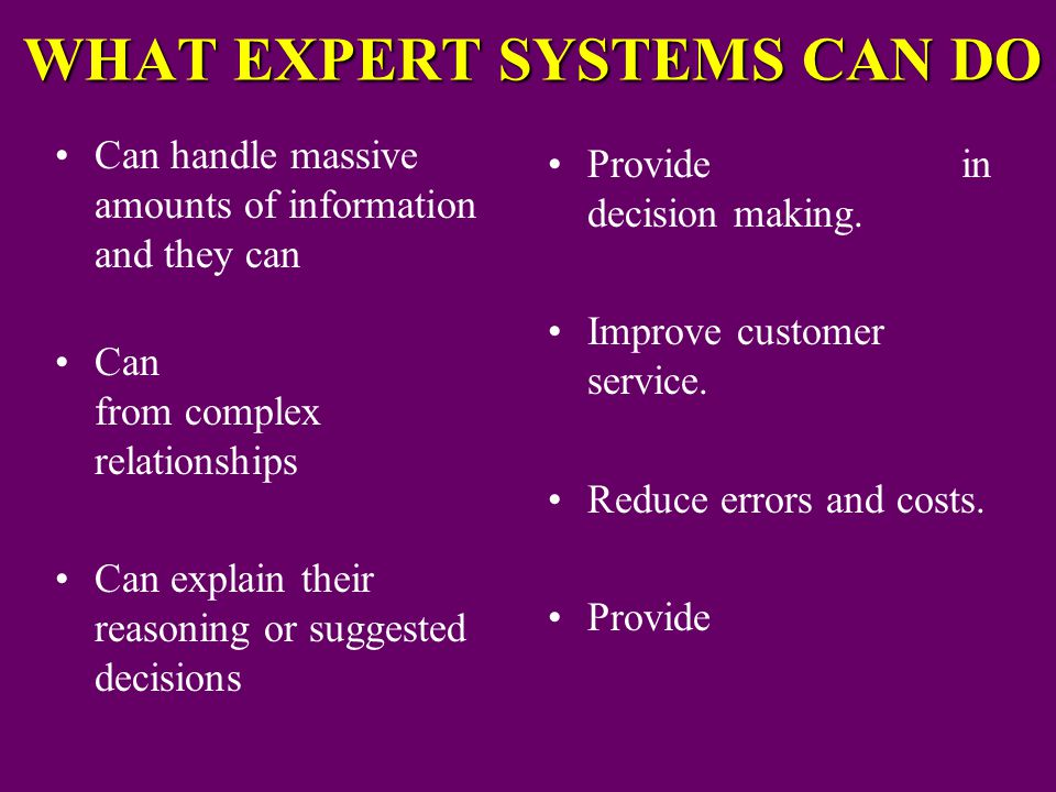 WHAT EXPERT SYSTEMS CAN DO