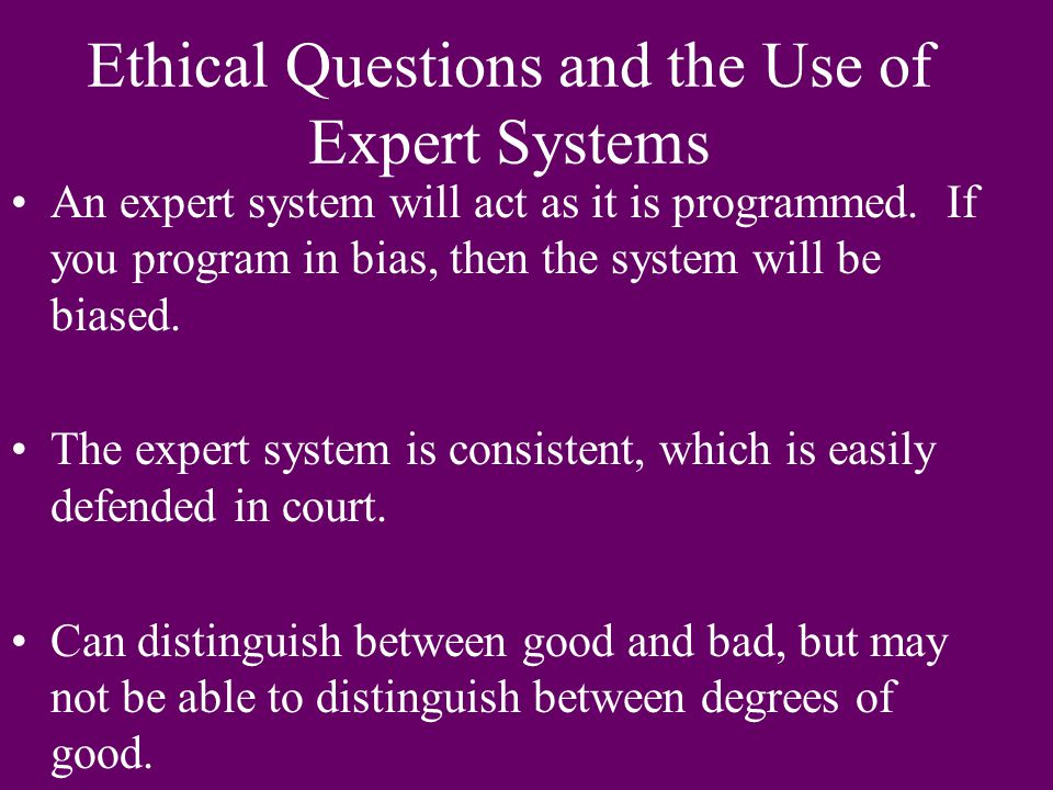 Ethical Questions and the Use of Expert Systems