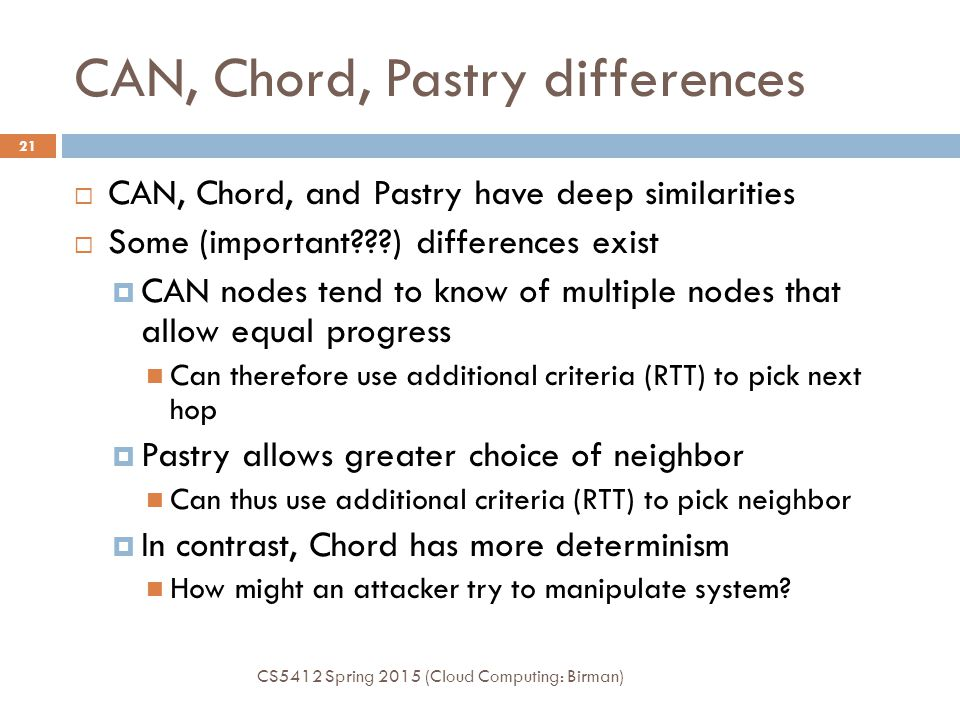 CAN, Chord, Pastry differences