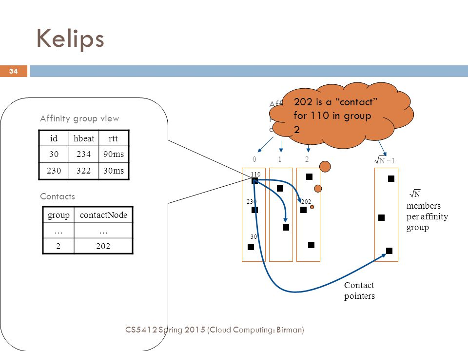 Kelips 202 is a contact for 110 in group 2 Affinity Groups: