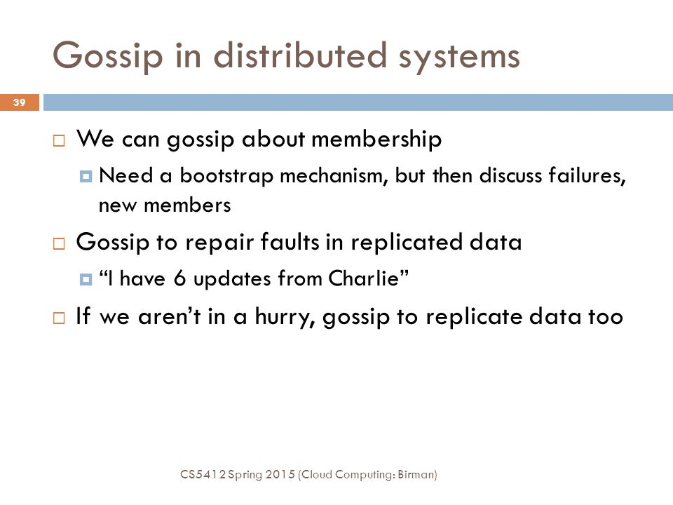 Gossip in distributed systems