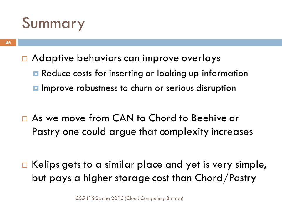 Summary Adaptive behaviors can improve overlays