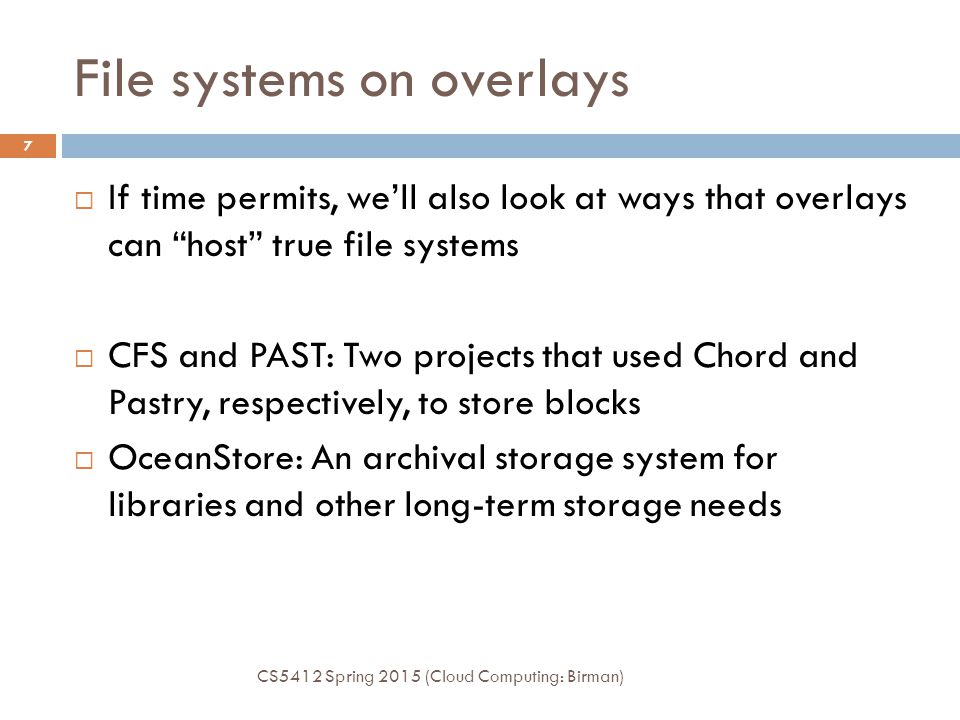 File systems on overlays