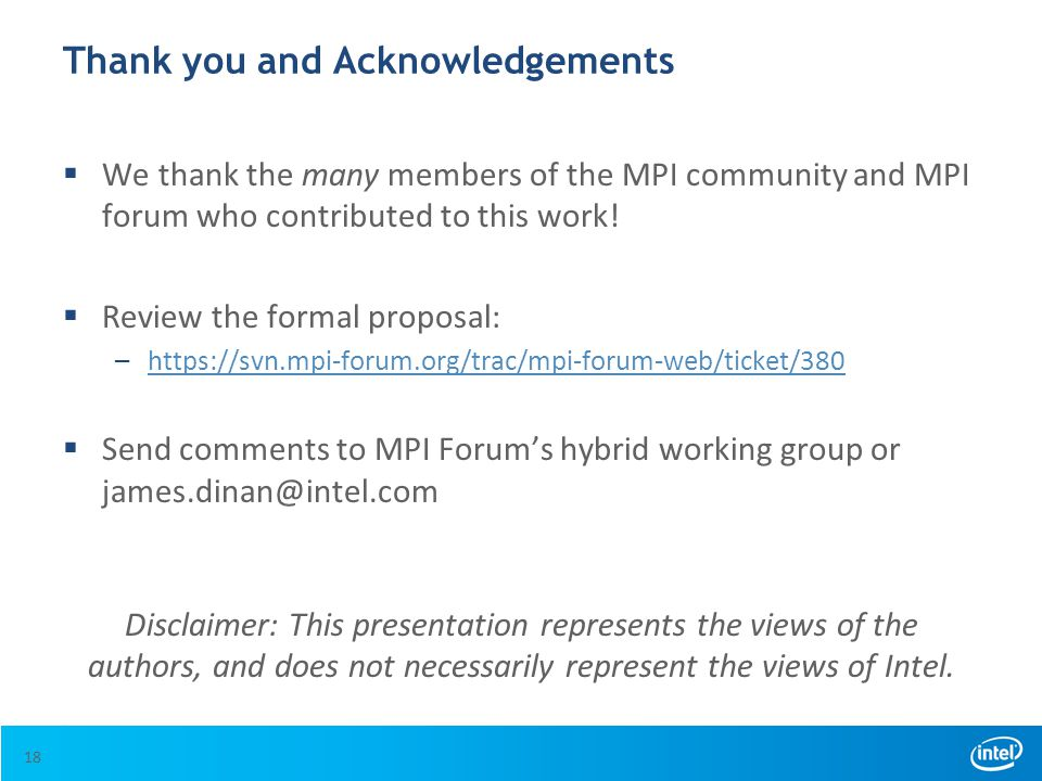 Thank you and Acknowledgements