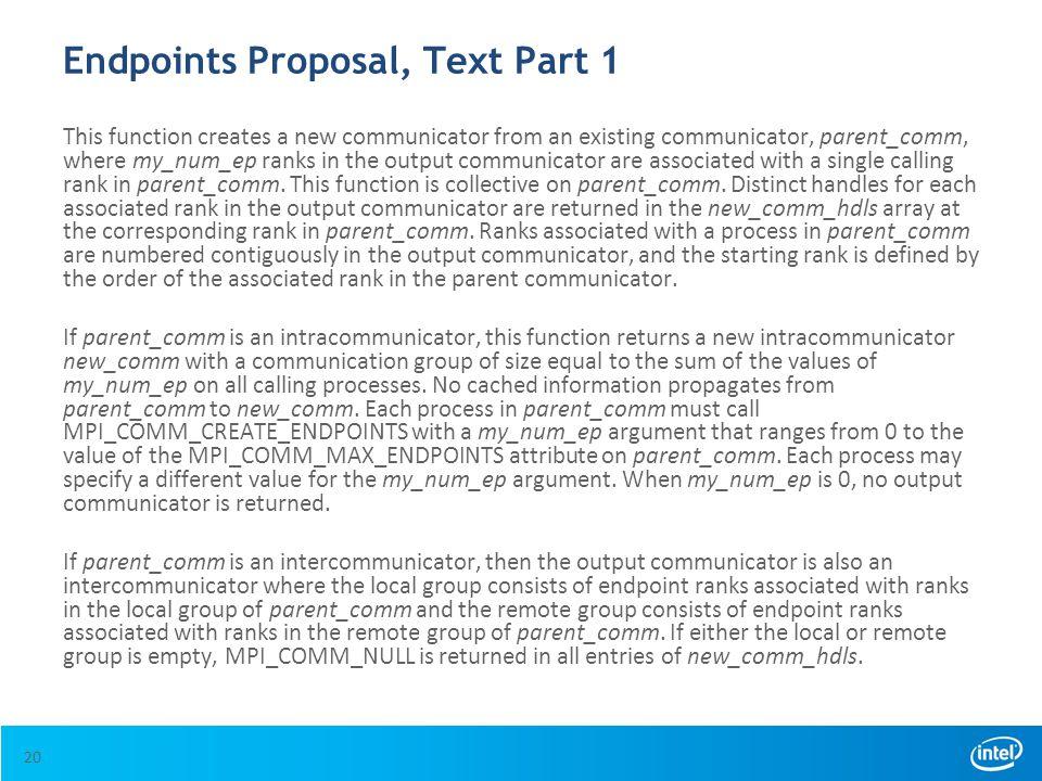 Endpoints Proposal, Text Part 1