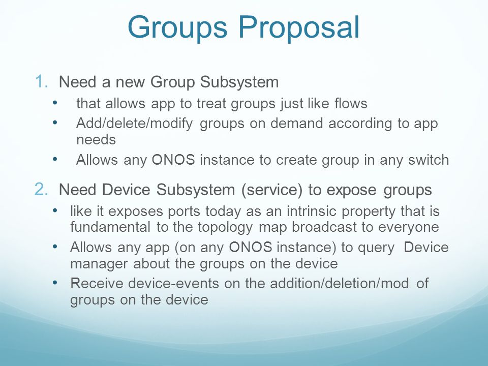 Groups Proposal Need a new Group Subsystem