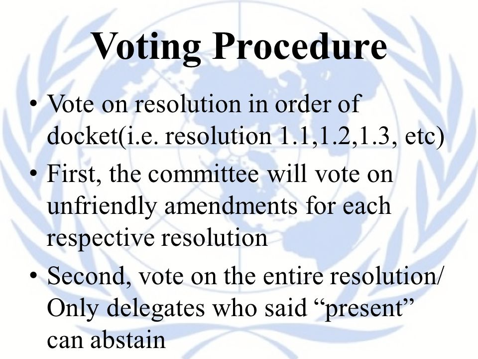 Voting Procedure Vote on resolution in order of docket(i.e. resolution 1.1,1.2,1.3, etc)