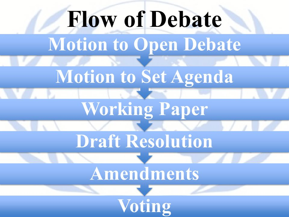 Flow of Debate Motion to Open Debate Motion to Set Agenda