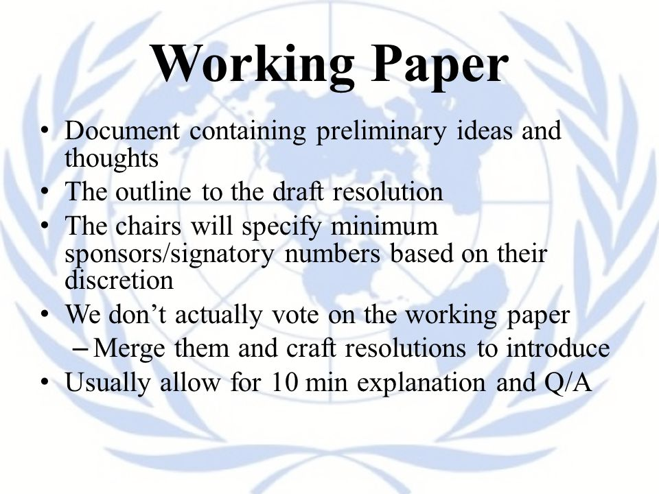 Working Paper Document containing preliminary ideas and thoughts