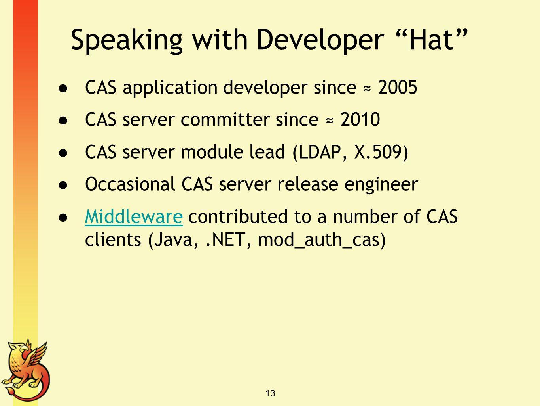 Speaking with Developer Hat