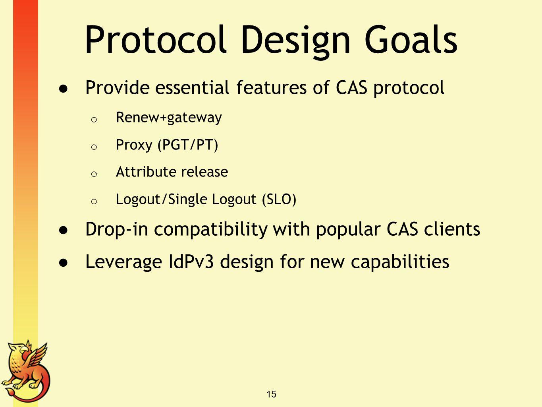 Protocol Design Goals Provide essential features of CAS protocol