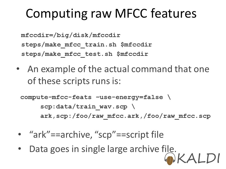 Computing raw MFCC features