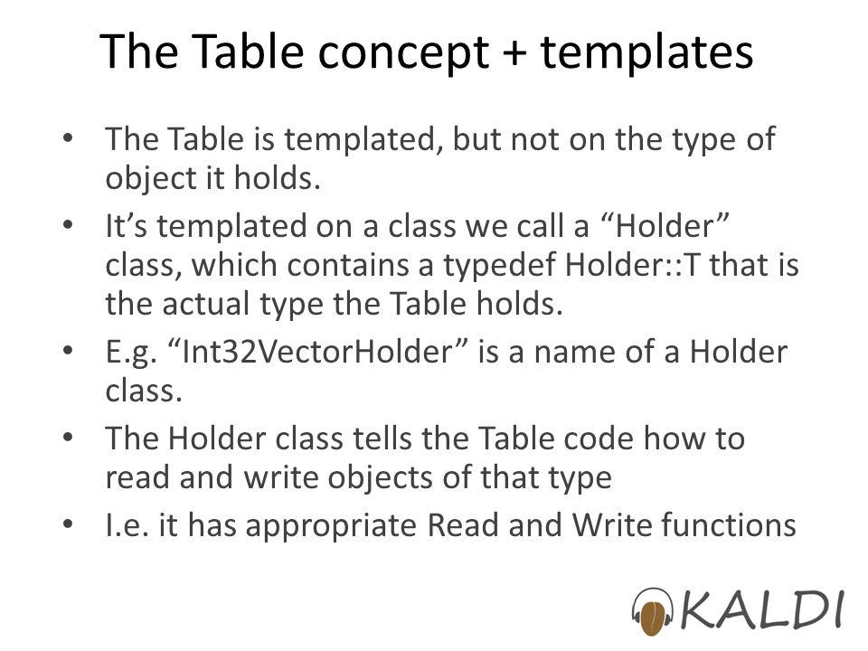 The Table concept + templates