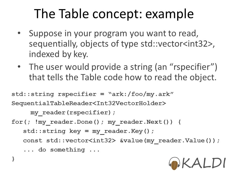 The Table concept: example