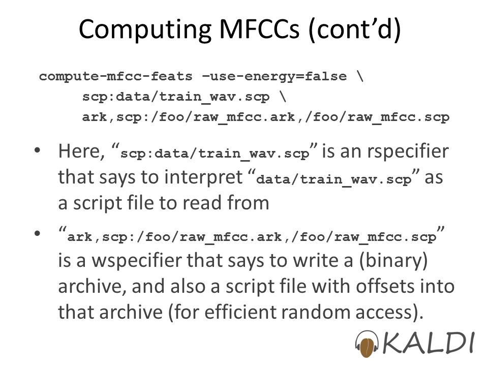 Computing MFCCs (cont'd)