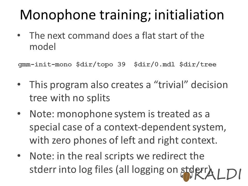 Monophone training; initialiation