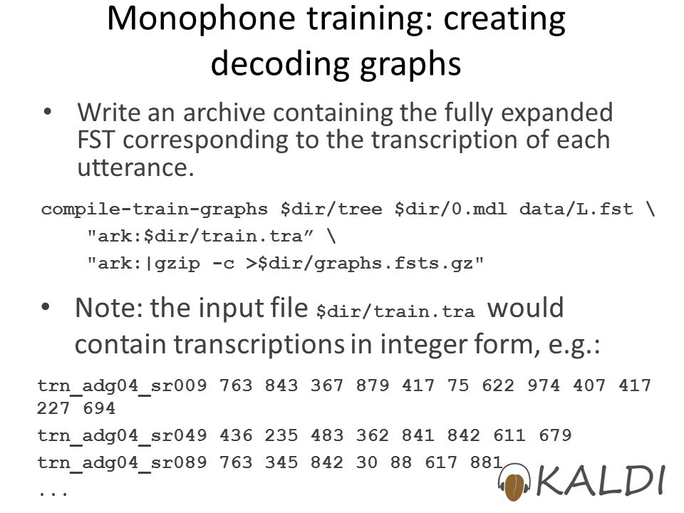 Monophone training: creating decoding graphs