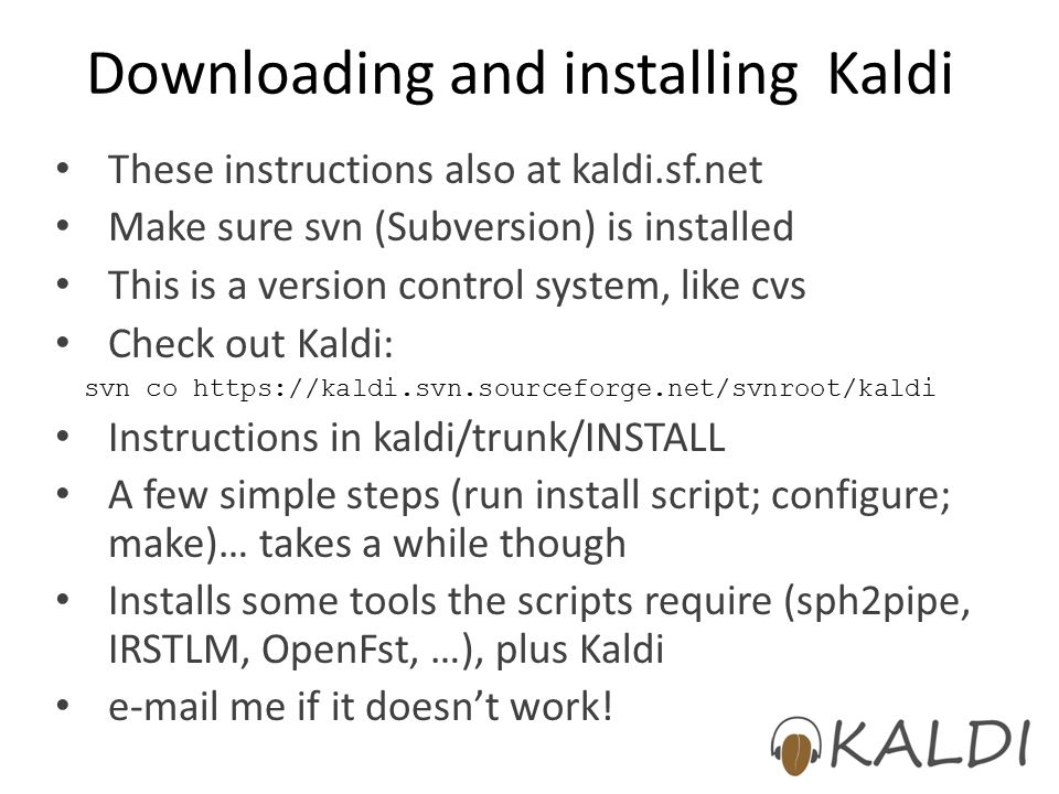 Downloading and installing Kaldi