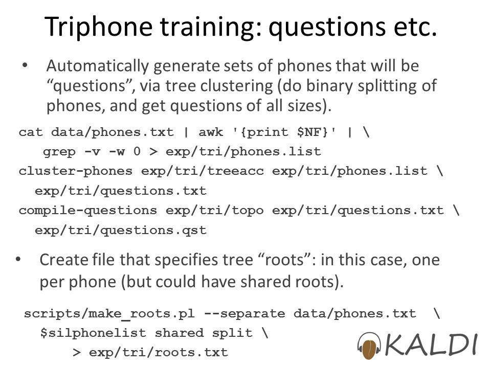 Triphone training: questions etc.