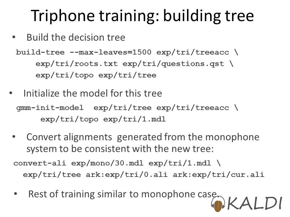 Triphone training: building tree