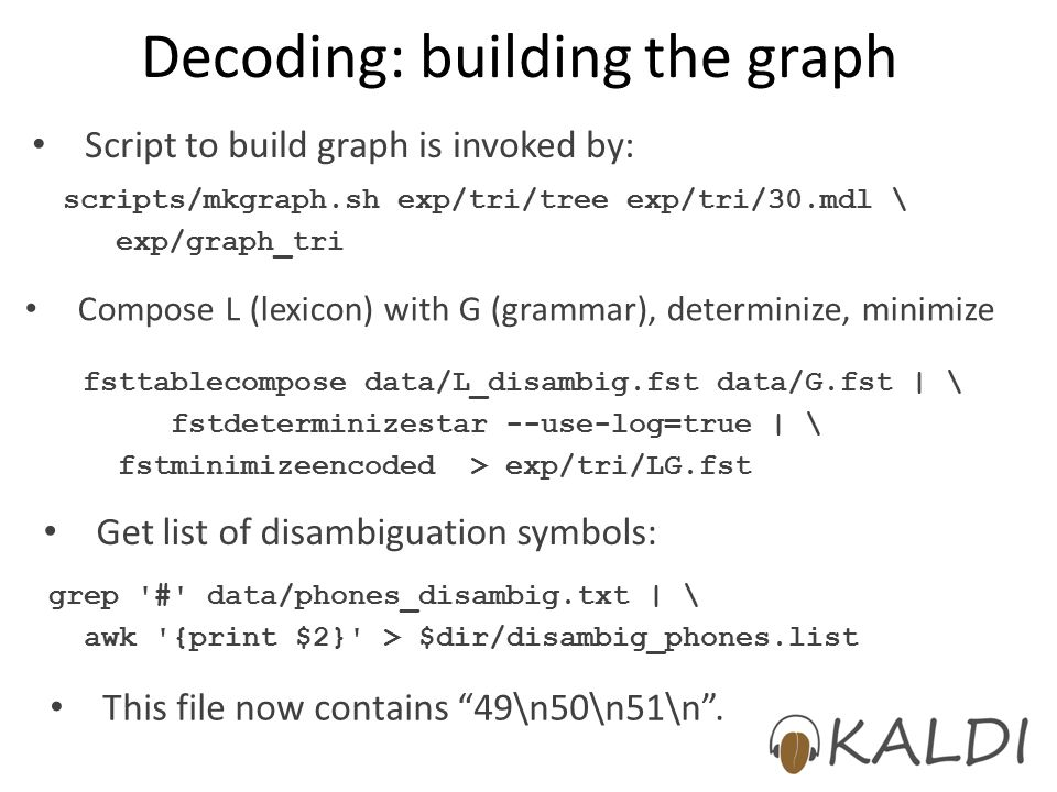 Decoding: building the graph