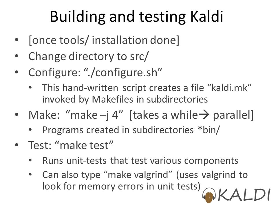 Building and testing Kaldi