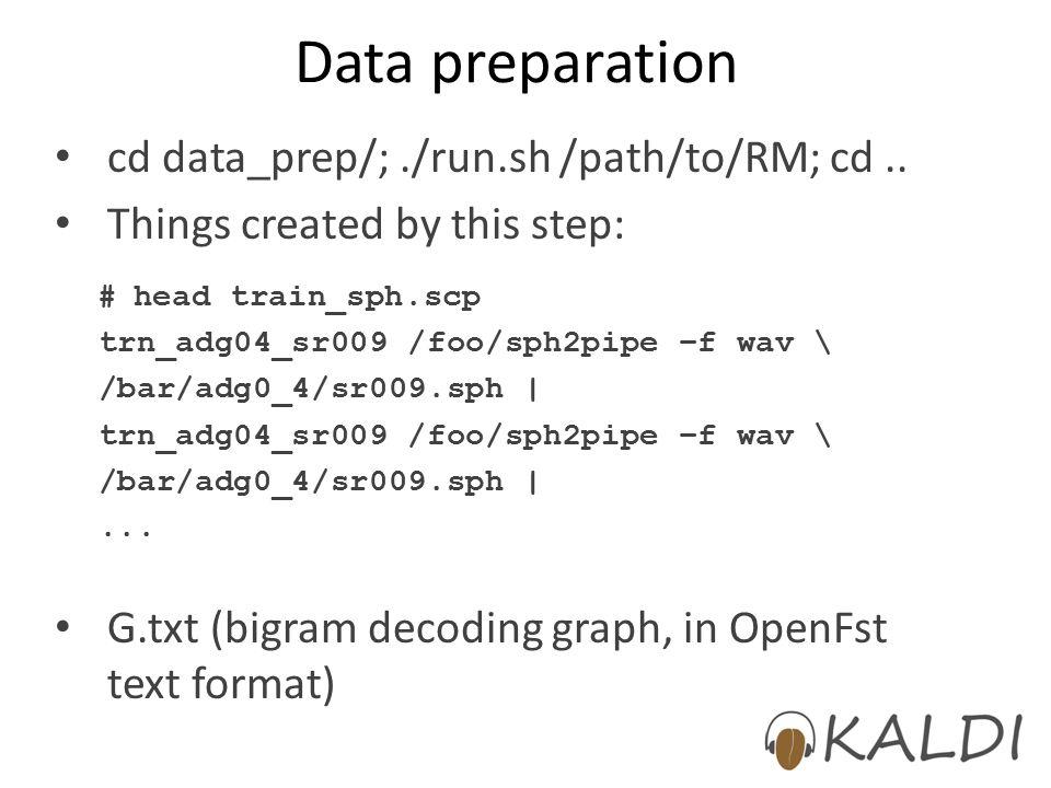 Data preparation cd data_prep/; ./run.sh /path/to/RM; cd ..