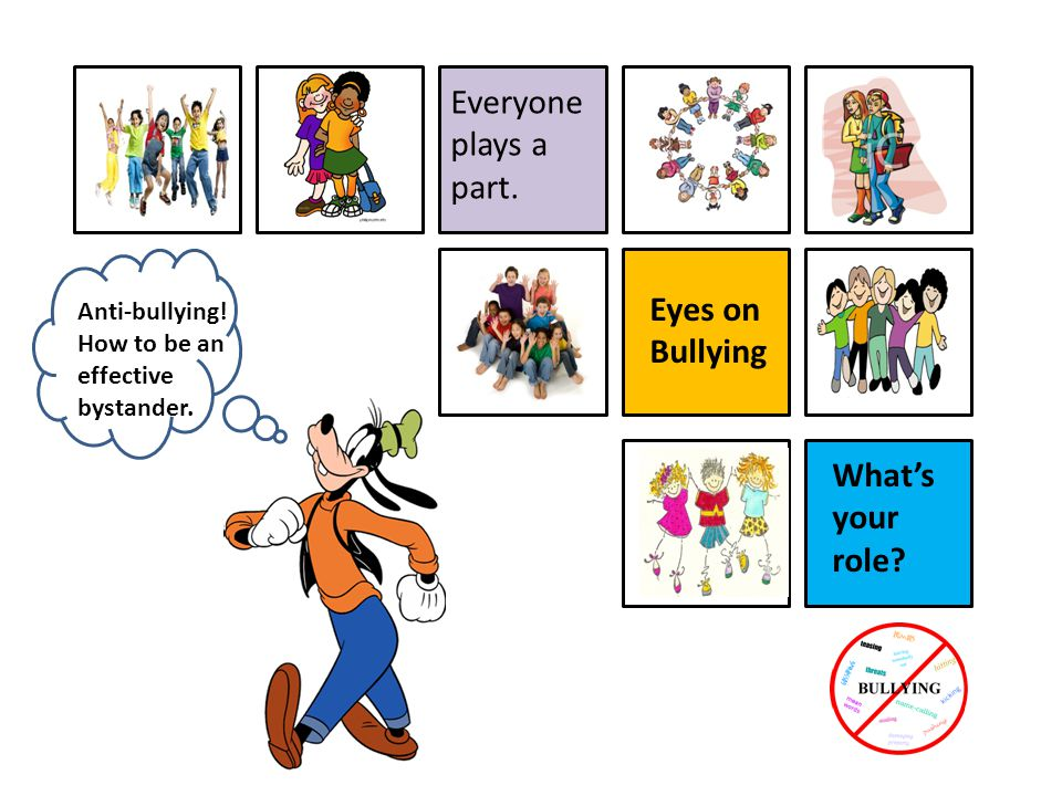 Everyone plays a part. Eyes on Bullying What's your role