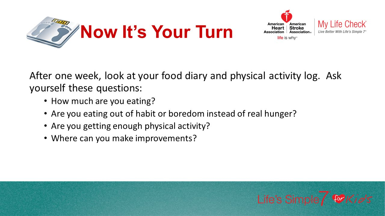 Now It's Your Turn After one week, look at your food diary and physical activity log. Ask yourself these questions: