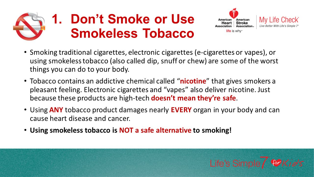 Don't Smoke or Use Smokeless Tobacco