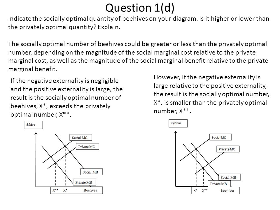 Question 1(d) Indicate the socially optimal quantity of beehives on your diagram. Is it higher or lower than the privately optimal quantity Explain.