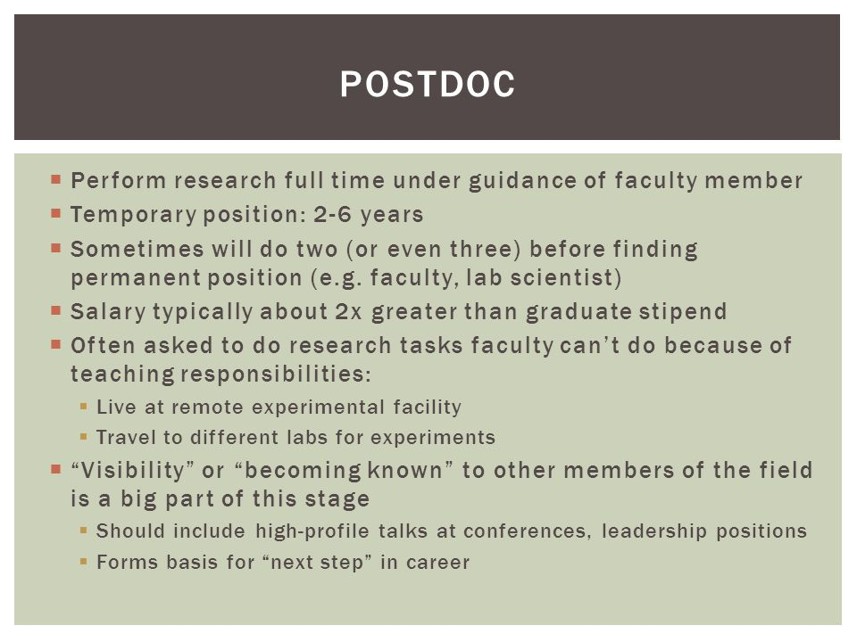 Postdoc Perform research full time under guidance of faculty member