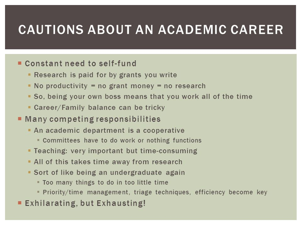 Cautions about an Academic Career