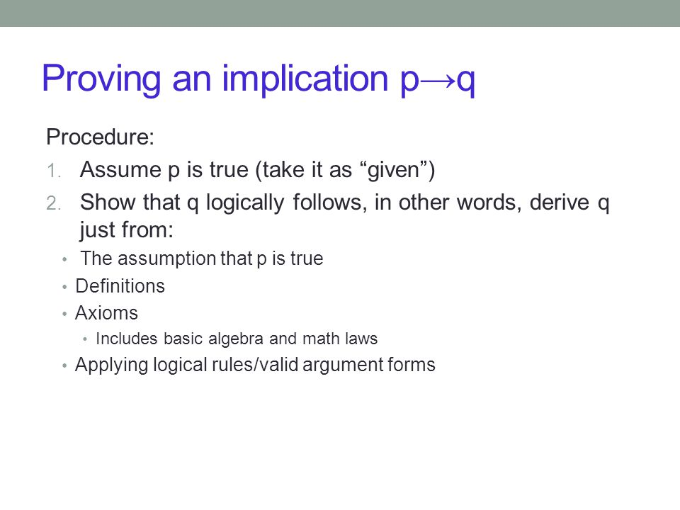 Proving an implication p→q